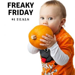 Picture of baby with pumpkin advertising $1 deals